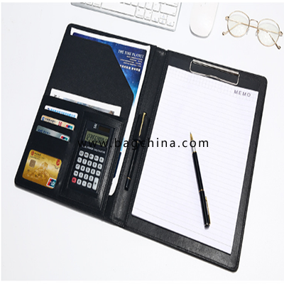 A4 multi-function folder booklet with plywood business leather with calculator